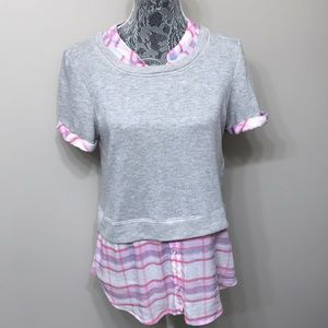 Anthropology women's gray / pink top size M